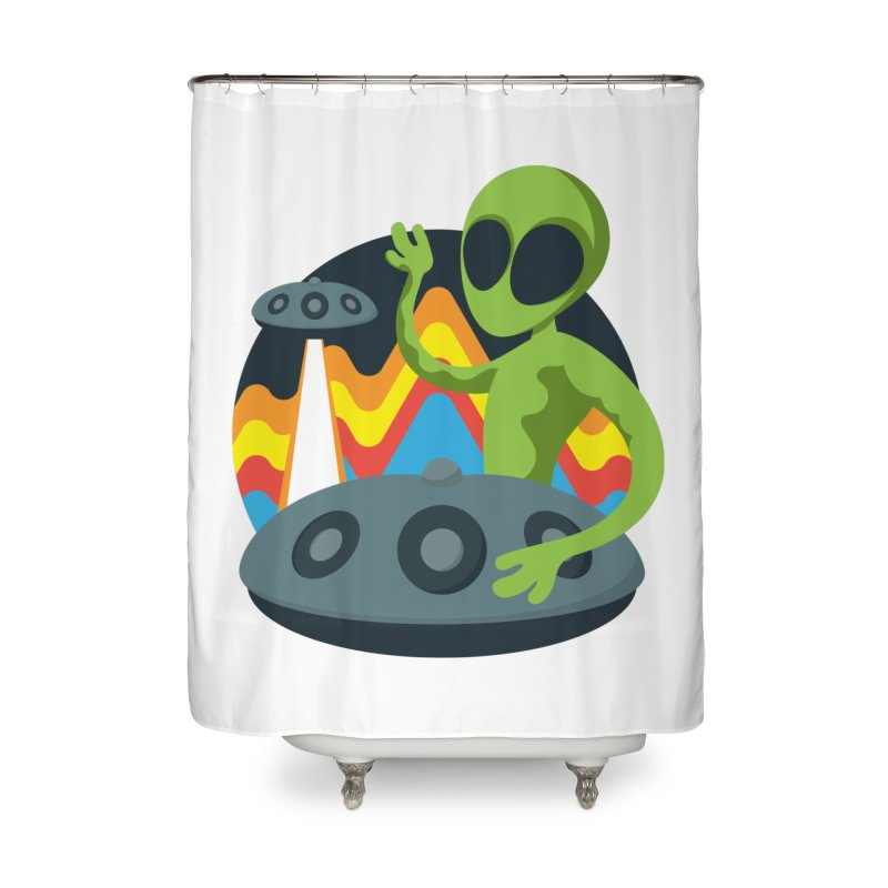 Green Alien Playing Handpan Home Shower Curtain by Handpan Merch (T-shirts, Hoodies, Accessories)