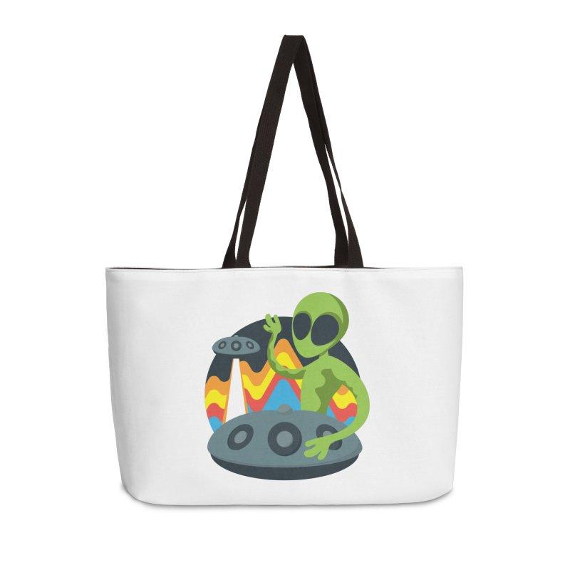 Green Alien Playing Handpan Accessories Weekender Bag Bag by Handpan Merch (T-shirts, Hoodies, Accessories)