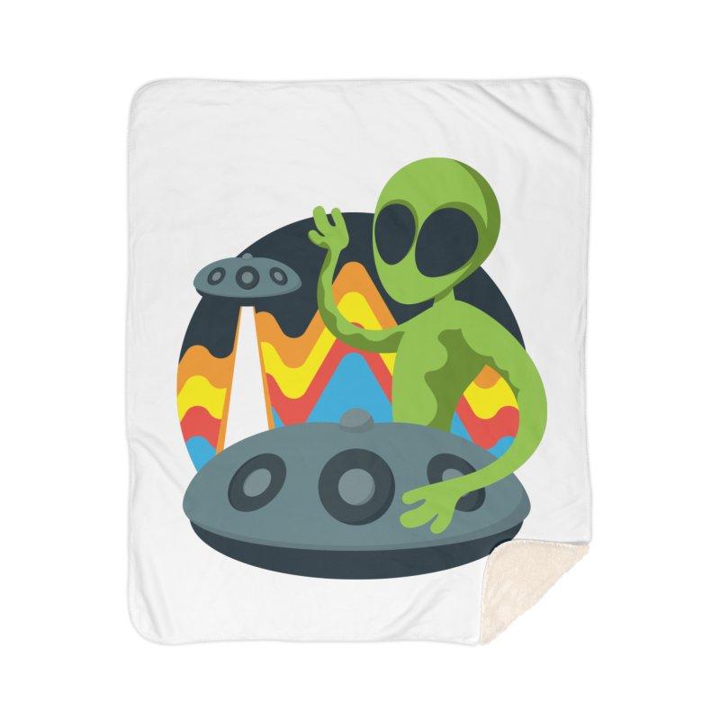 Green Alien Playing Handpan Home Sherpa Blanket Blanket by Handpan Merch (T-shirts, Hoodies, Accessories)