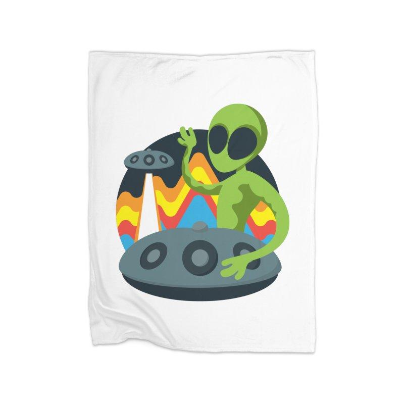Green Alien Playing Handpan Home Fleece Blanket Blanket by Handpan Merch (T-shirts, Hoodies, Accessories)