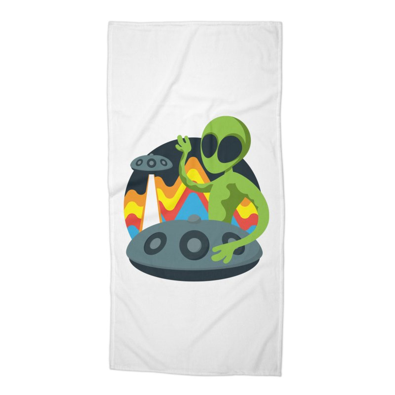 Green Alien Playing Handpan Accessories Beach Towel by Handpan Merch (T-shirts, Hoodies, Accessories)