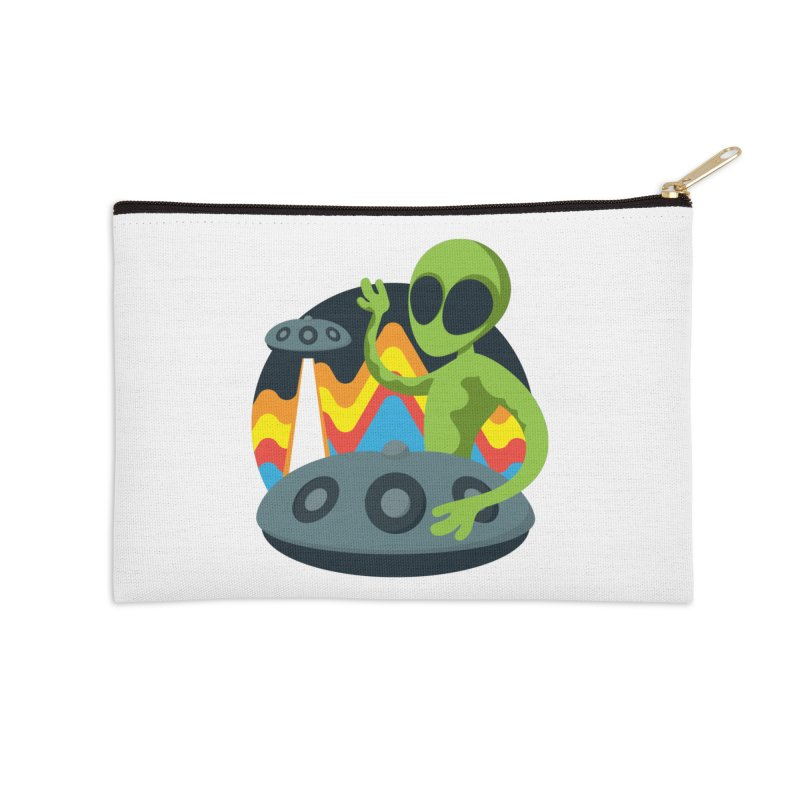 Green Alien Playing Handpan Accessories Zip Pouch by Handpan Merch (T-shirts, Hoodies, Accessories)