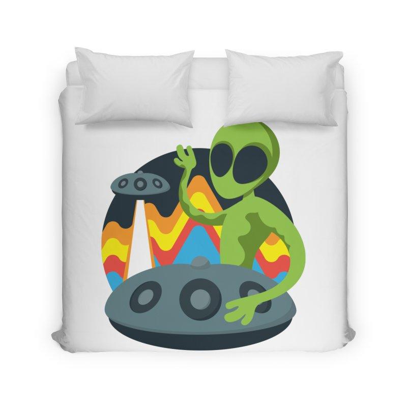 Green Alien Playing Handpan Home Duvet by Handpan Merch (T-shirts, Hoodies, Accessories)