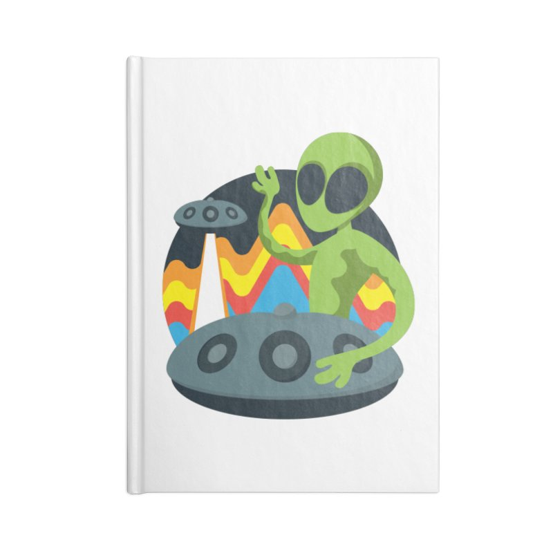 Green Alien Playing Handpan Accessories Lined Journal Notebook by Handpan Merch (T-shirts, Hoodies, Accessories)