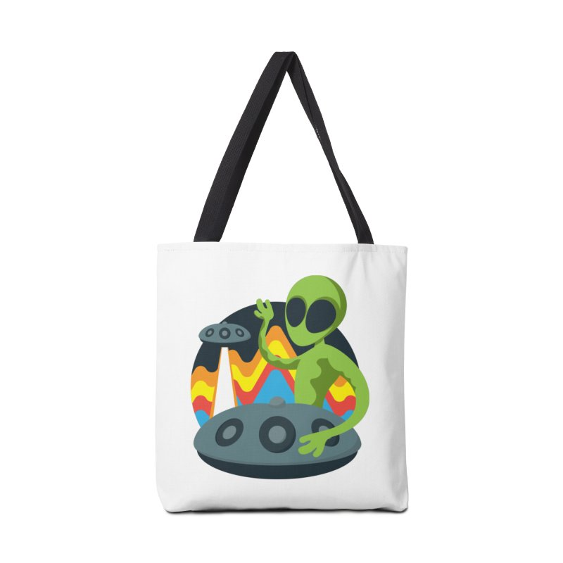 Green Alien Playing Handpan Accessories Tote Bag Bag by Handpan Merch (T-shirts, Hoodies, Accessories)