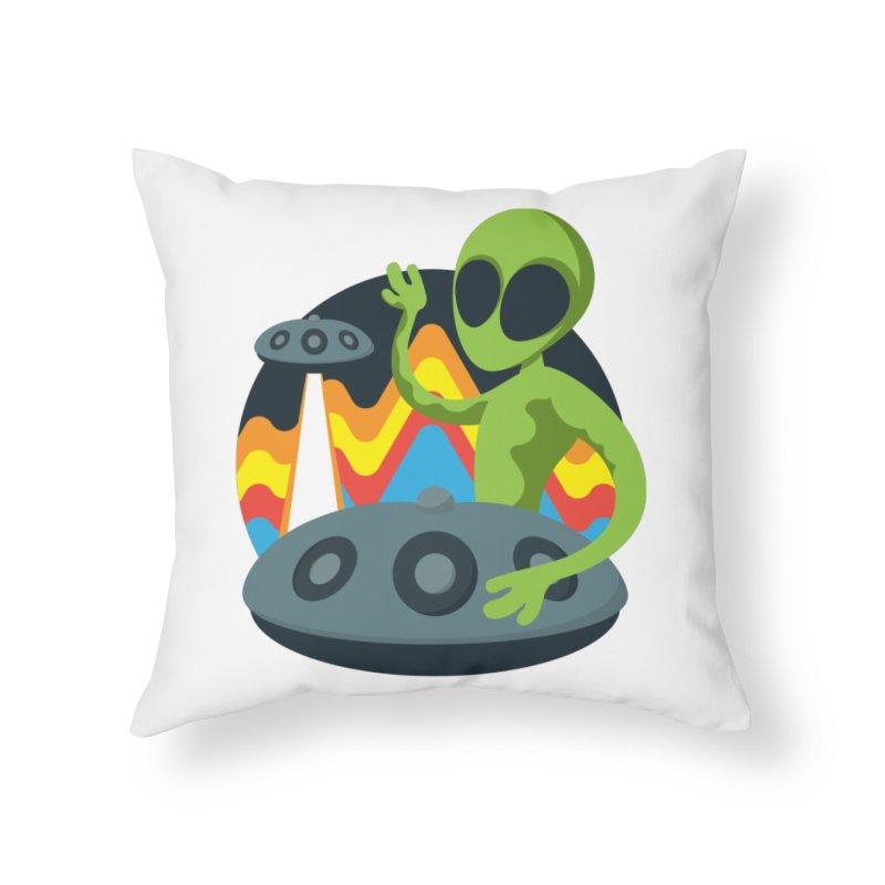 Green Alien Playing Handpan Home Throw Pillow by Handpan Merch (T-shirts, Hoodies, Accessories)