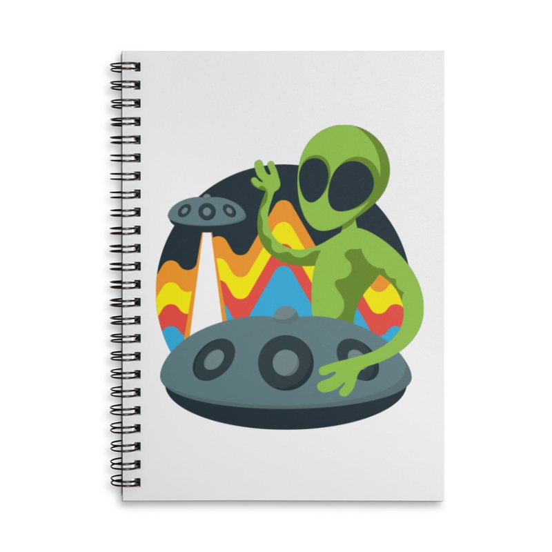 Green Alien Playing Handpan Accessories Lined Spiral Notebook by Handpan Merch (T-shirts, Hoodies, Accessories)