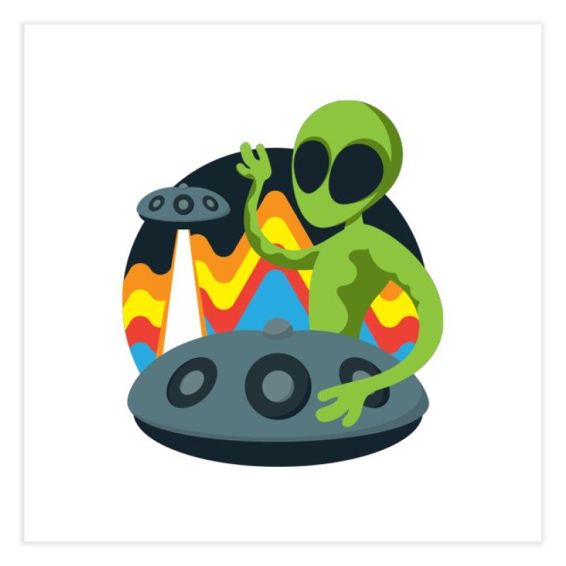 Green Alien Playing Handpan Home Fine Art Print by Handpan Merch (T-shirts, Hoodies, Accessories)