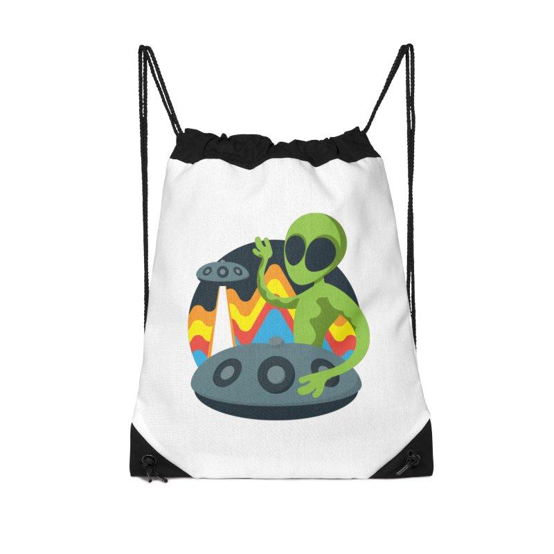 Green Alien Playing Handpan Accessories Drawstring Bag Bag by Handpan Merch (T-shirts, Hoodies, Accessories)