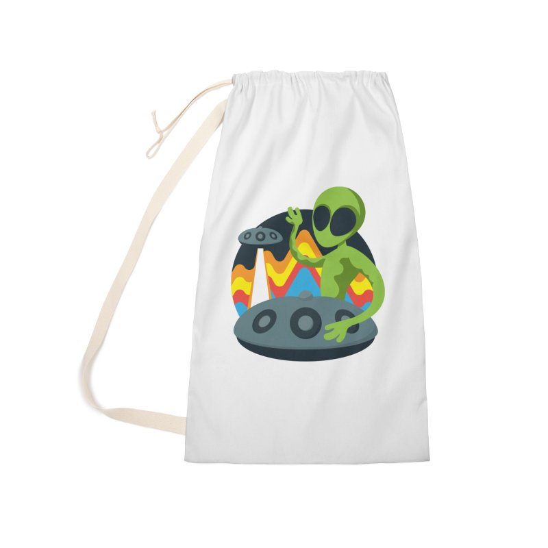Green Alien Playing Handpan Accessories Laundry Bag Bag by Handpan Merch (T-shirts, Hoodies, Accessories)