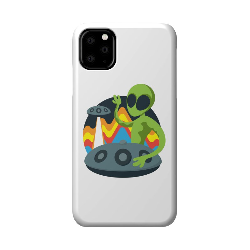 Green Alien Playing Handpan Accessories Phone Case by Handpan Merch (T-shirts, Hoodies, Accessories)