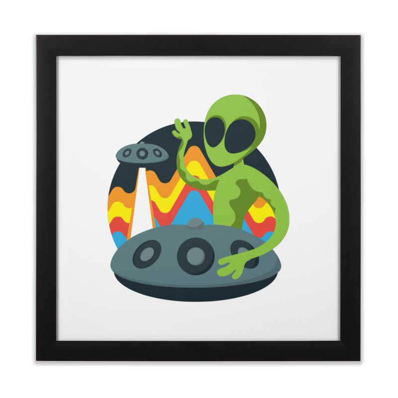Green Alien Playing Handpan Home Framed Fine Art Print by Handpan Merch (T-shirts, Hoodies, Accessories)