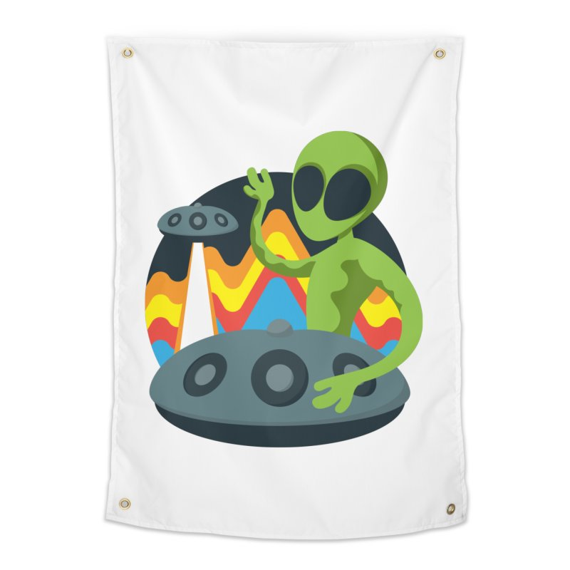 Green Alien Playing Handpan Home Tapestry by Handpan Merch (T-shirts, Hoodies, Accessories)