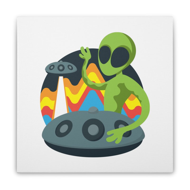 Green Alien Playing Handpan Home Stretched Canvas by Handpan Merch (T-shirts, Hoodies, Accessories)