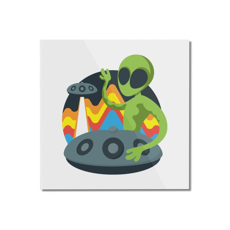 Green Alien Playing Handpan Home Mounted Acrylic Print by Handpan Merch (T-shirts, Hoodies, Accessories)