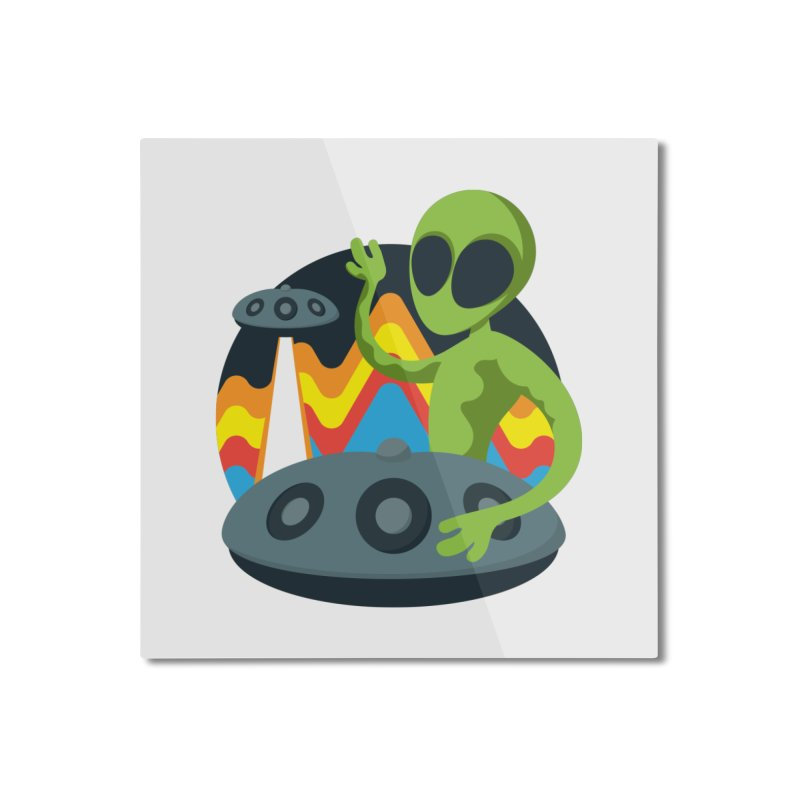 Green Alien Playing Handpan Home Mounted Aluminum Print by Handpan Merch (T-shirts, Hoodies, Accessories)