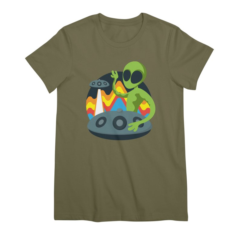 Green Alien Playing Handpan Women's Premium T-Shirt by Handpan Merch (T-shirts, Hoodies, Accessories)