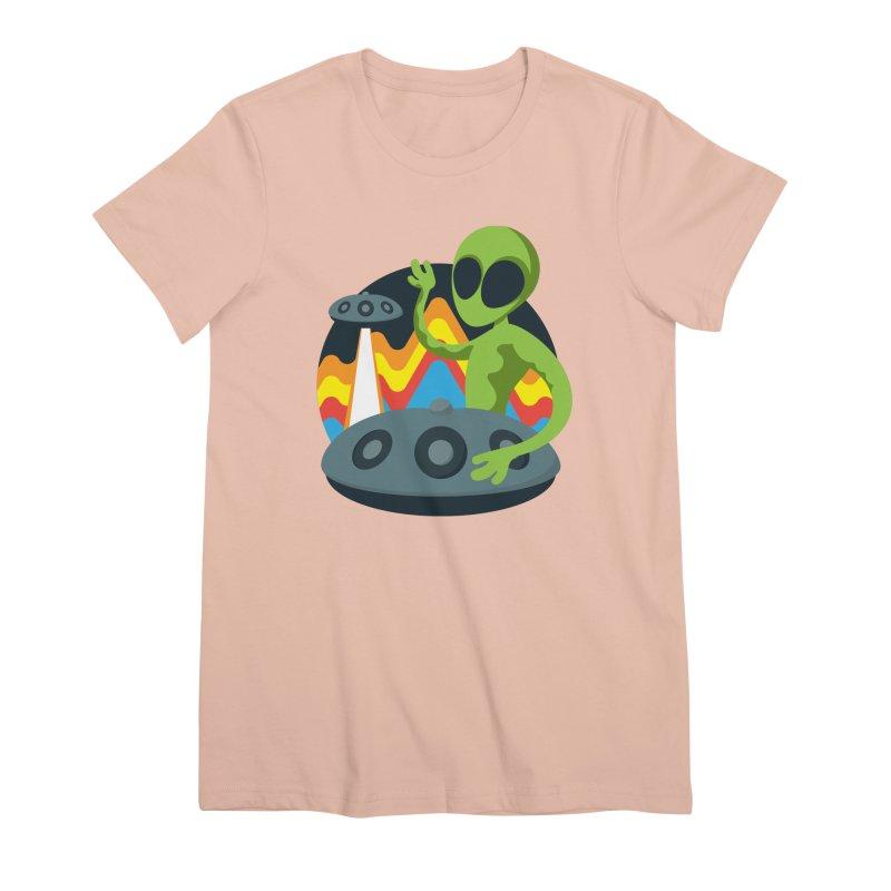 Green Alien Playing Handpan Women's Premium T-Shirt by Handpan Merch (T-shirts, Hoodies, Accessories)