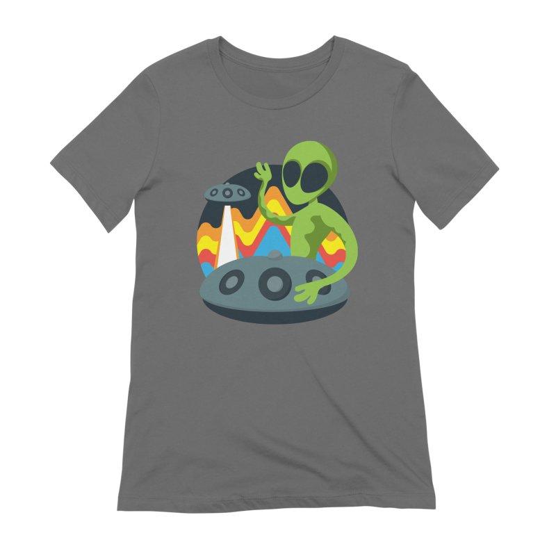 Green Alien Playing Handpan Women's T-Shirt by Handpan Merch (T-shirts, Hoodies, Accessories)