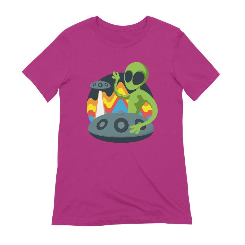 Green Alien Playing Handpan Women's Extra Soft T-Shirt by Handpan Merch (T-shirts, Hoodies, Accessories)