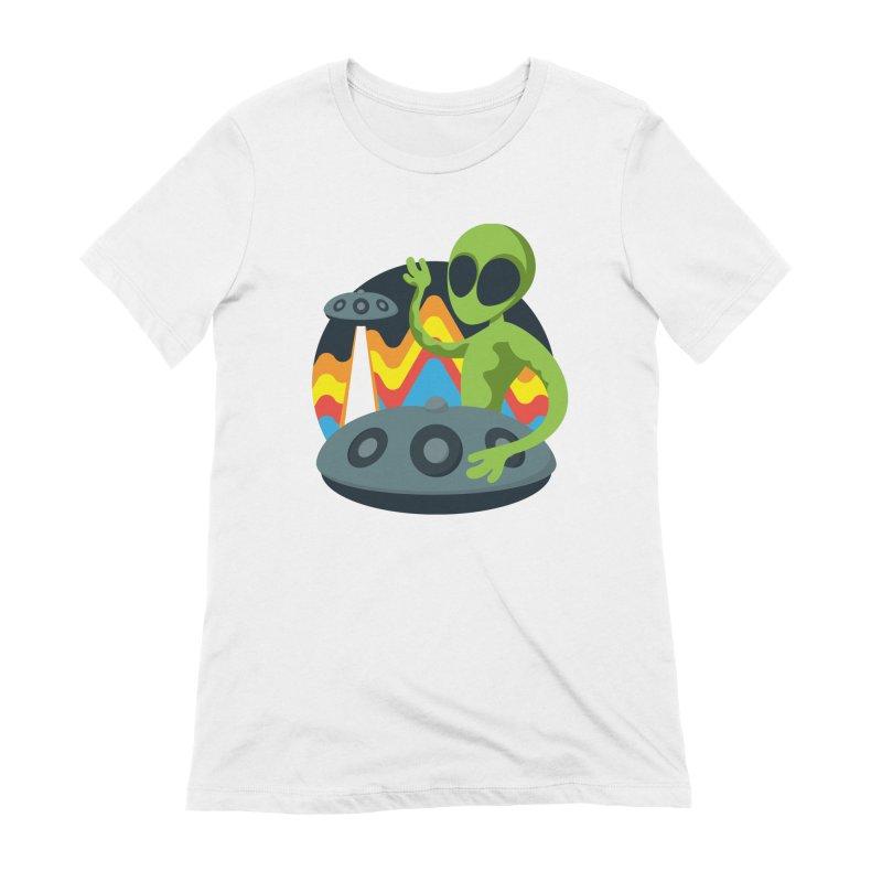 Green Alien Playing Handpan Women's Extra Soft T-Shirt by Handpan Merch (T-shirts, Hoodies, Accessories)