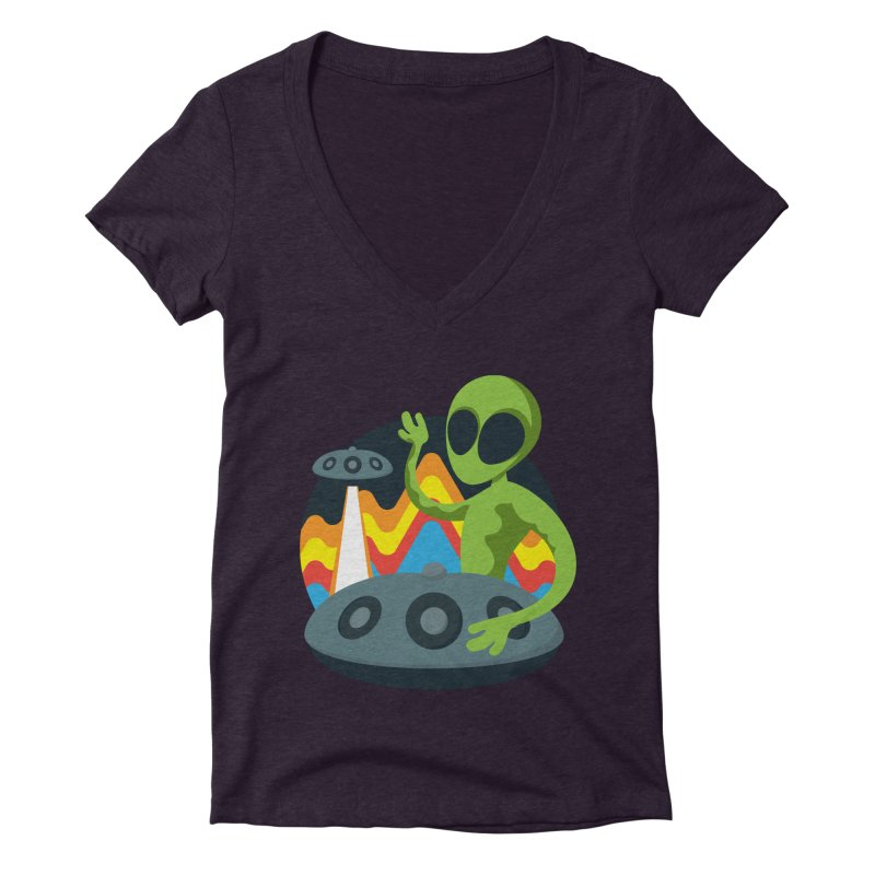 Green Alien Playing Handpan Women's Deep V-Neck V-Neck by Handpan Merch (T-shirts, Hoodies, Accessories)