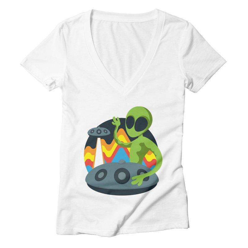 Green Alien Playing Handpan Women's Deep V-Neck V-Neck by Handpan Merch (T-shirts, Hoodies, Accessories)