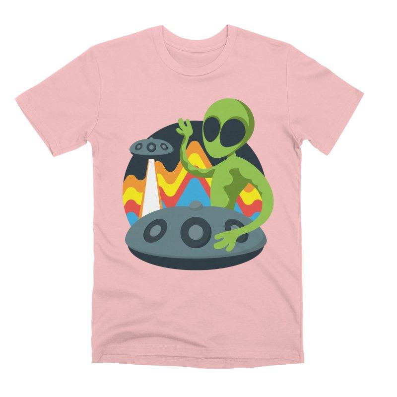 Green Alien Playing Handpan Men's Premium T-Shirt by Handpan Merch (T-shirts, Hoodies, Accessories)