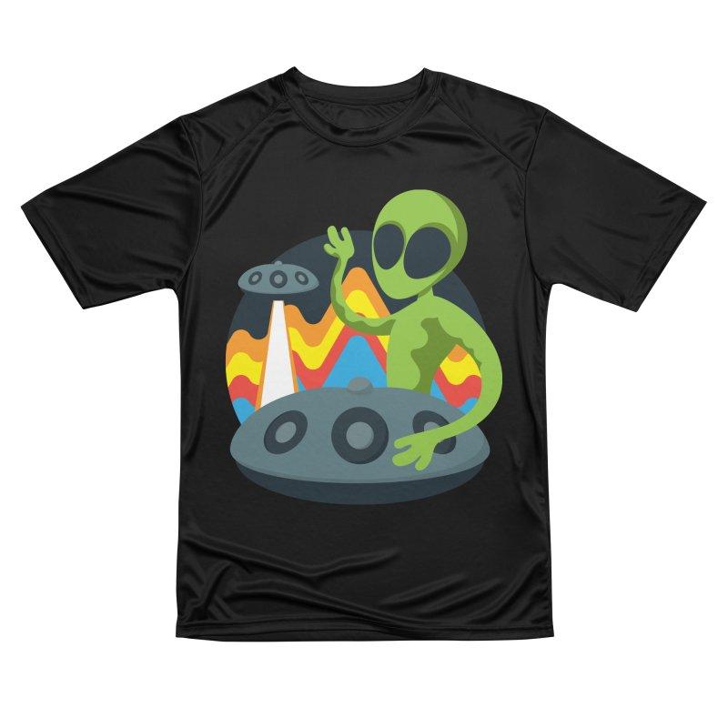 Green Alien Playing Handpan Men's Performance T-Shirt by Handpan Merch (T-shirts, Hoodies, Accessories)