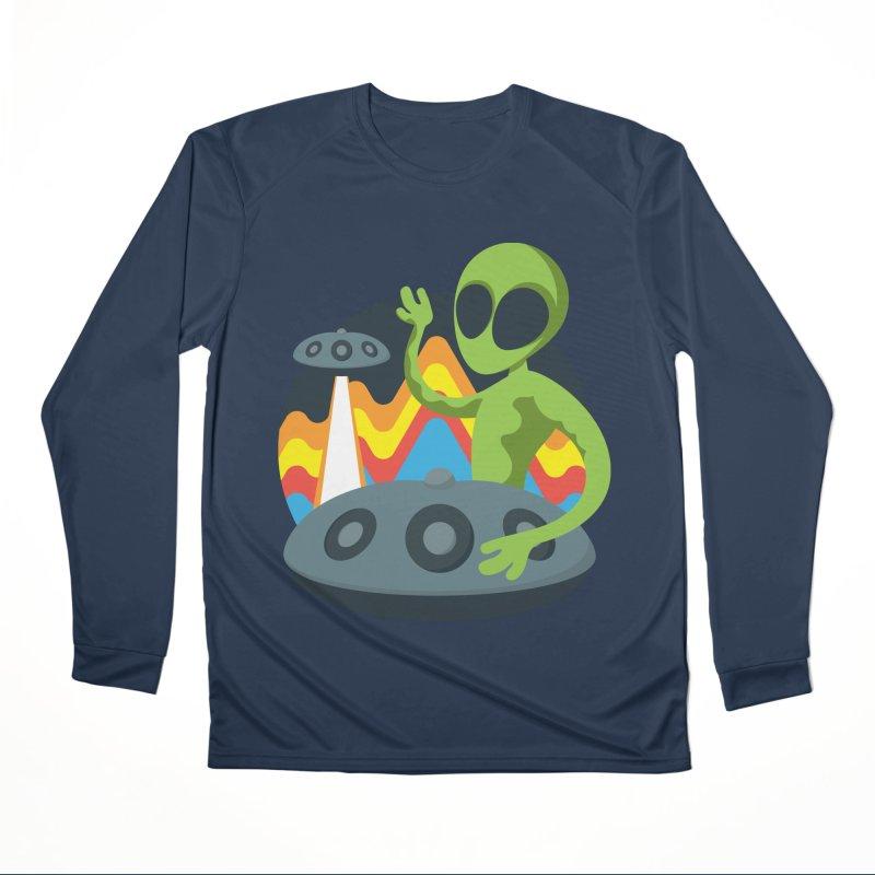 Green Alien Playing Handpan Men's Performance Longsleeve T-Shirt by Handpan Merch (T-shirts, Hoodies, Accessories)