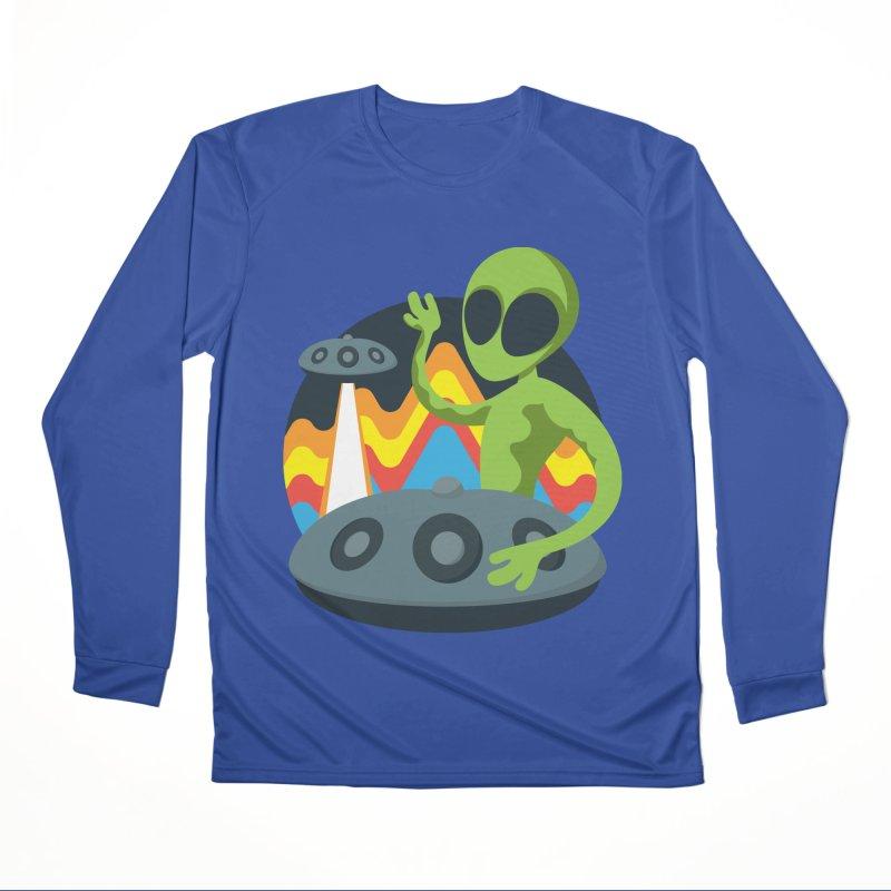 Green Alien Playing Handpan Women's Performance Unisex Longsleeve T-Shirt by Handpan Merch (T-shirts, Hoodies, Accessories)