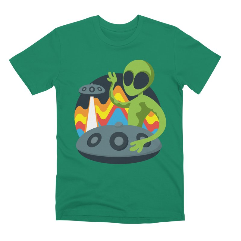Green Alien Playing Handpan Men's Premium T-Shirt by Handpan Merch (T-shirts, Hoodies, Accessories)
