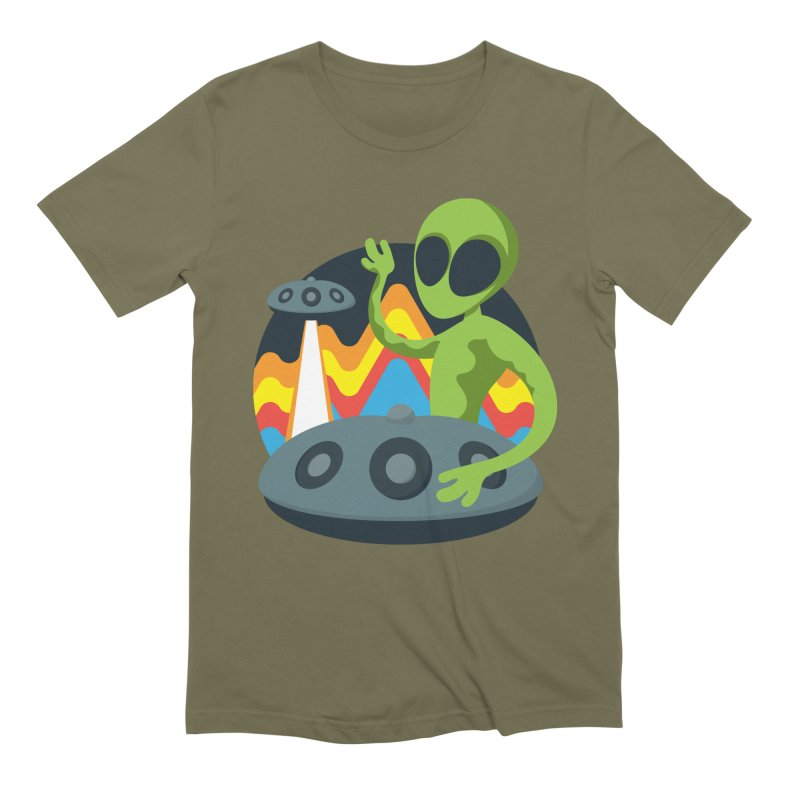 Green Alien Playing Handpan Men's Extra Soft T-Shirt by Handpan Merch (T-shirts, Hoodies, Accessories)