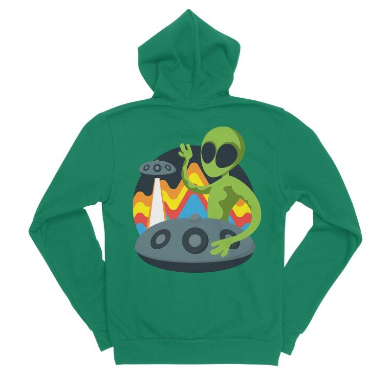 Green Alien Playing Handpan Men's Sponge Fleece Zip-Up Hoody by Handpan Merch (T-shirts, Hoodies, Accessories)