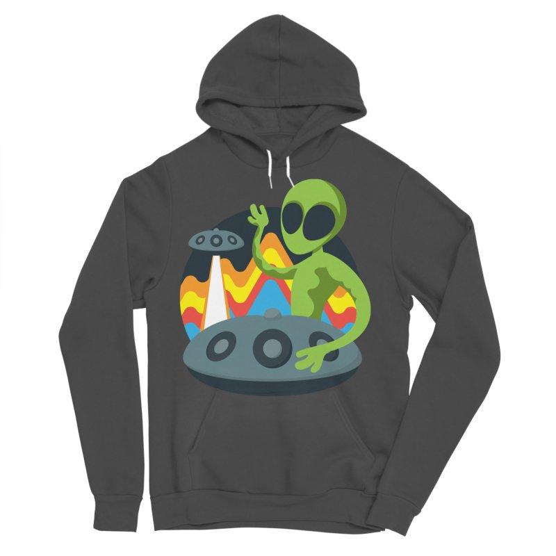 Green Alien Playing Handpan Men's Sponge Fleece Pullover Hoody by Handpan Merch (T-shirts, Hoodies, Accessories)