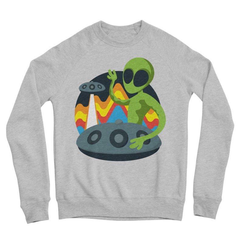 Green Alien Playing Handpan Men's Sponge Fleece Sweatshirt by Handpan Merch (T-shirts, Hoodies, Accessories)