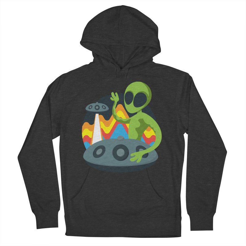 Green Alien Playing Handpan Women's French Terry Pullover Hoody by Handpan Merch (T-shirts, Hoodies, Accessories)