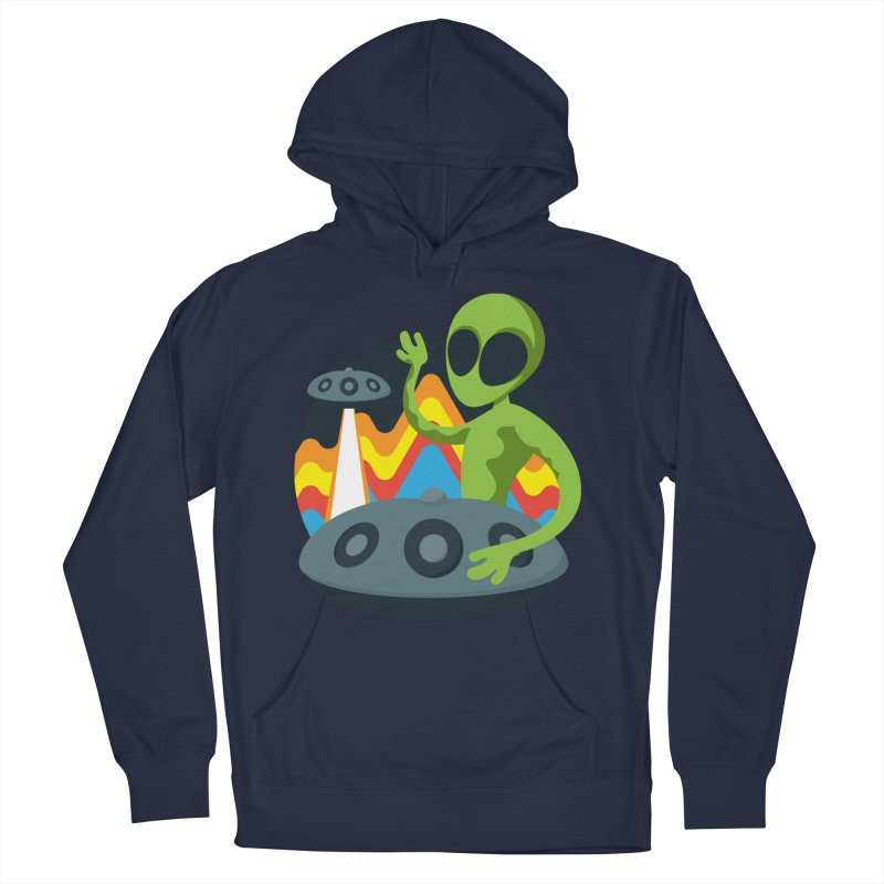 Green Alien Playing Handpan Men's French Terry Pullover Hoody by Handpan Merch (T-shirts, Hoodies, Accessories)
