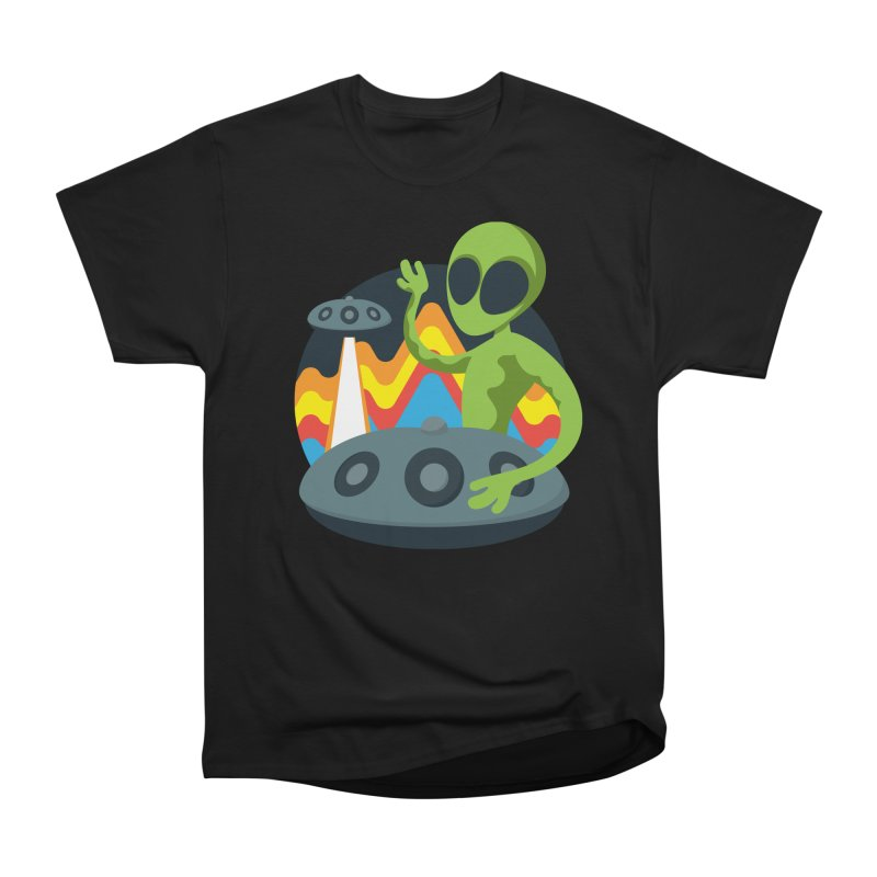 Green Alien Playing Handpan Men's Heavyweight T-Shirt by Handpan Merch (T-shirts, Hoodies, Accessories)