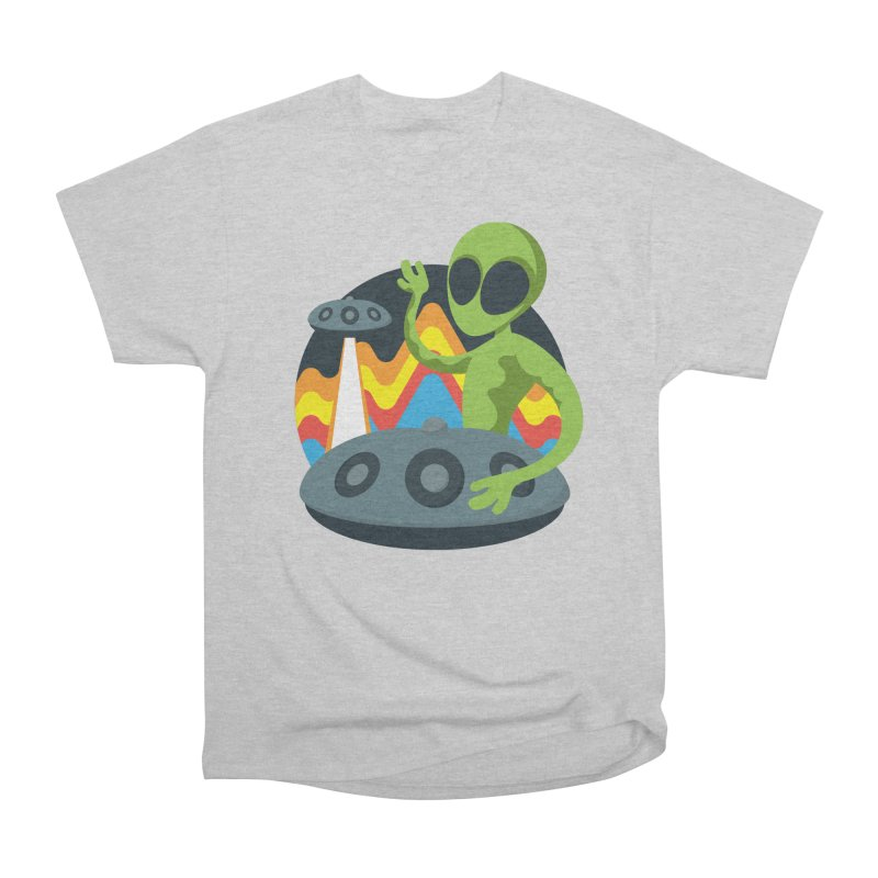 Green Alien Playing Handpan Men's Heavyweight T-Shirt by Handpan Merch (T-shirts, Hoodies, Accessories)