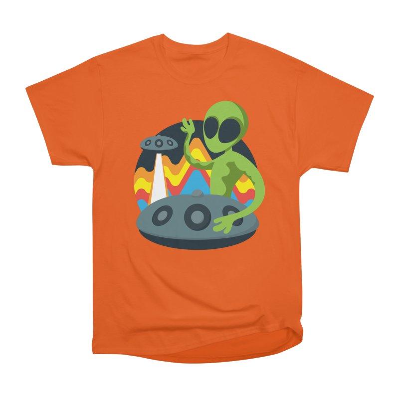 Green Alien Playing Handpan Women's Heavyweight Unisex T-Shirt by Handpan Merch (T-shirts, Hoodies, Accessories)