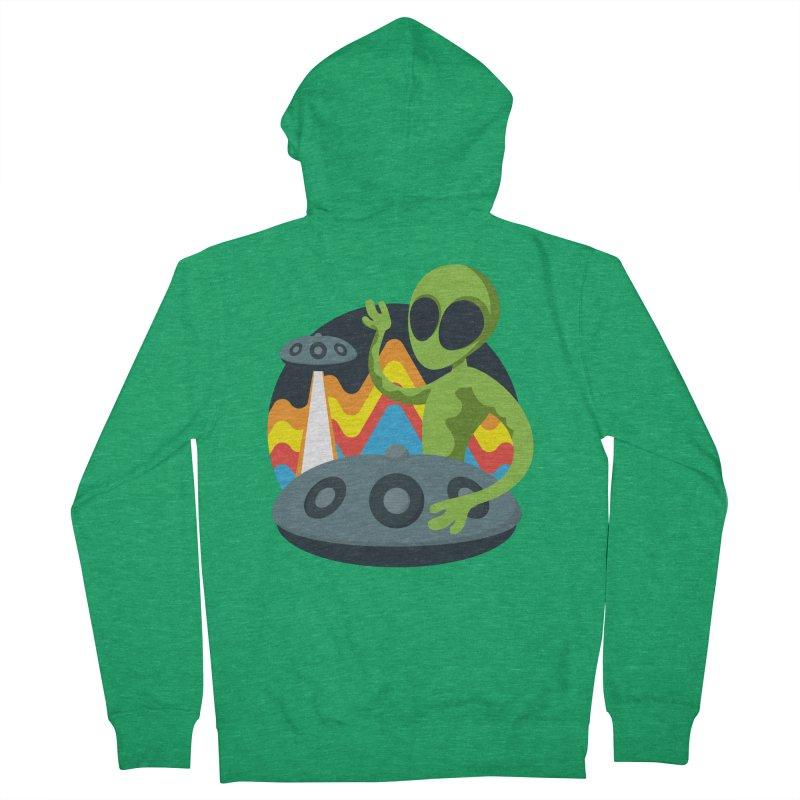 Green Alien Playing Handpan Men's French Terry Zip-Up Hoody by Handpan Merch (T-shirts, Hoodies, Accessories)