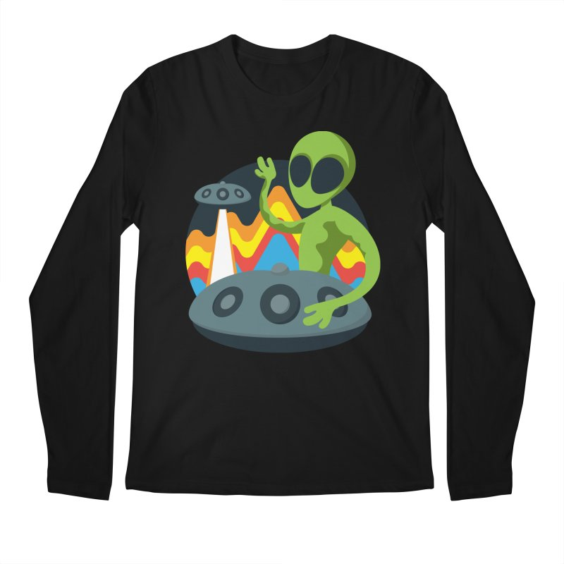 Green Alien Playing Handpan Men's Regular Longsleeve T-Shirt by Handpan Merch (T-shirts, Hoodies, Accessories)