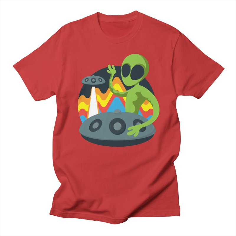 Green Alien Playing Handpan Men's Regular T-Shirt by Handpan Merch (T-shirts, Hoodies, Accessories)