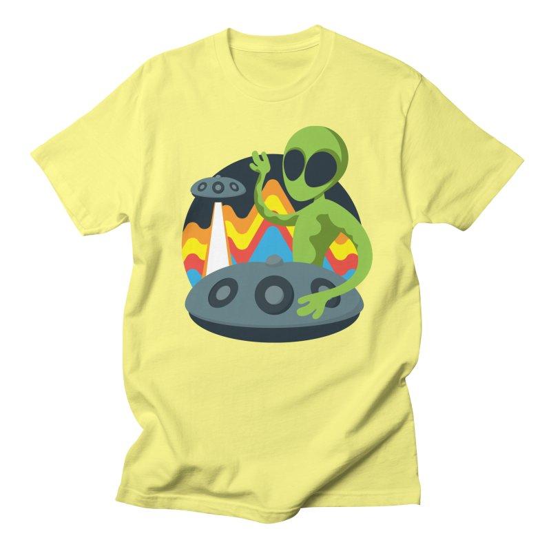 Green Alien Playing Handpan Women's Regular Unisex T-Shirt by Handpan Merch (T-shirts, Hoodies, Accessories)