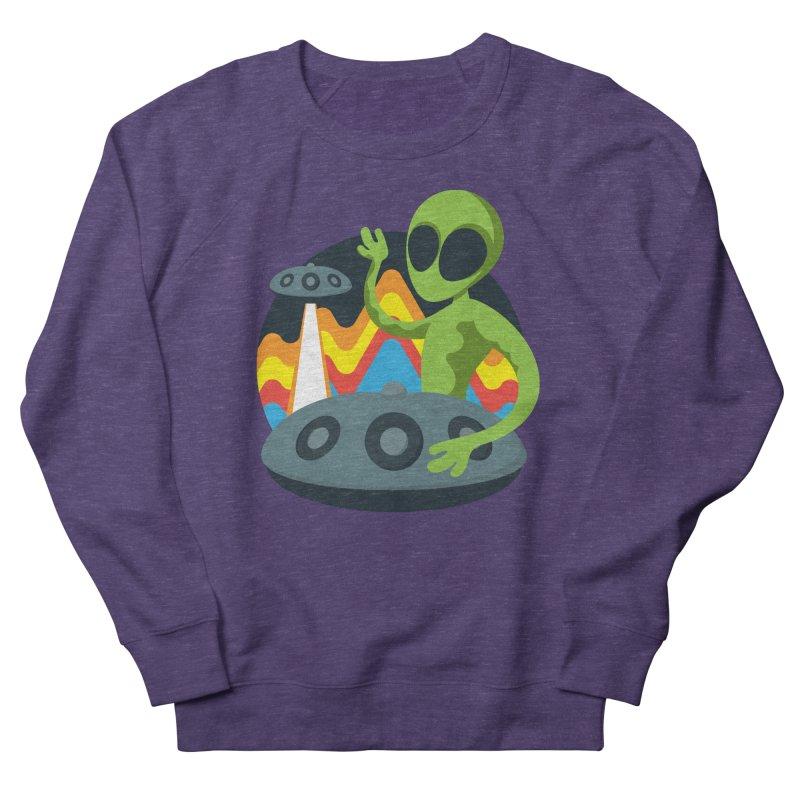 Green Alien Playing Handpan Women's French Terry Sweatshirt by Handpan Merch (T-shirts, Hoodies, Accessories)