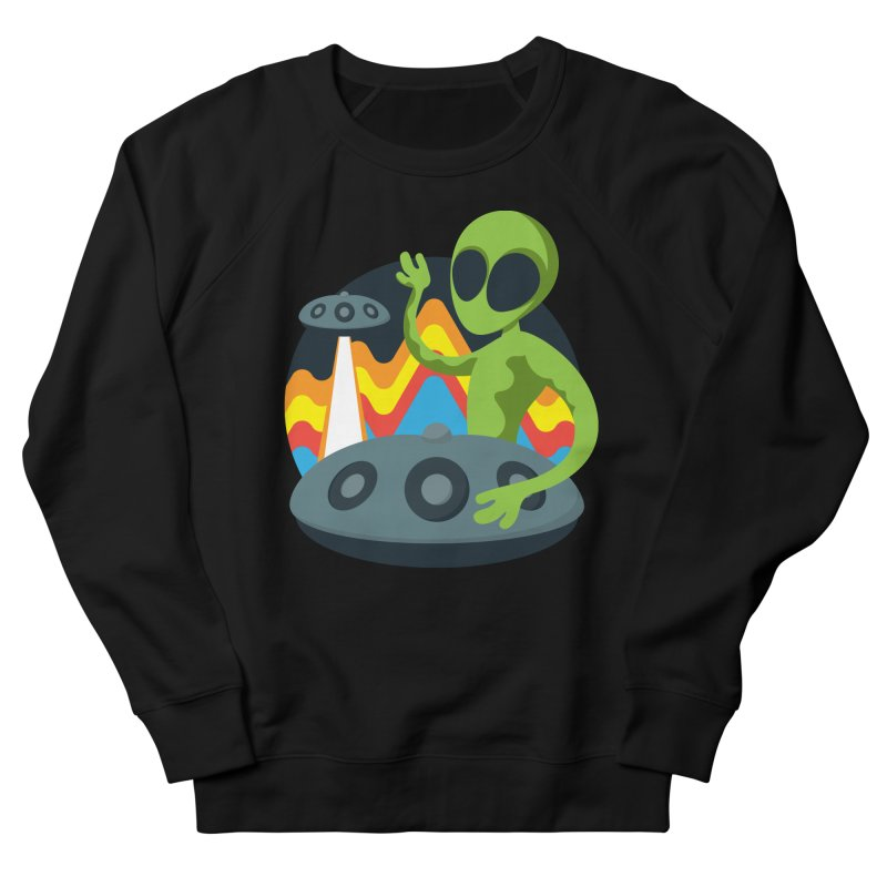 Green Alien Playing Handpan Women's French Terry Sweatshirt by Handpan Merch (T-shirts, Hoodies, Accessories)
