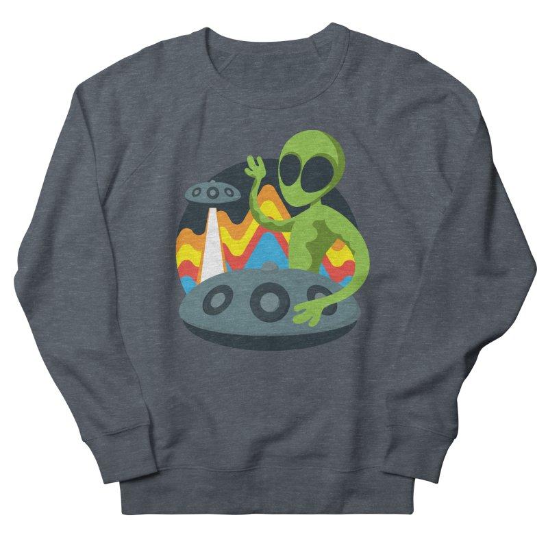 Green Alien Playing Handpan Men's French Terry Sweatshirt by Handpan Merch (T-shirts, Hoodies, Accessories)