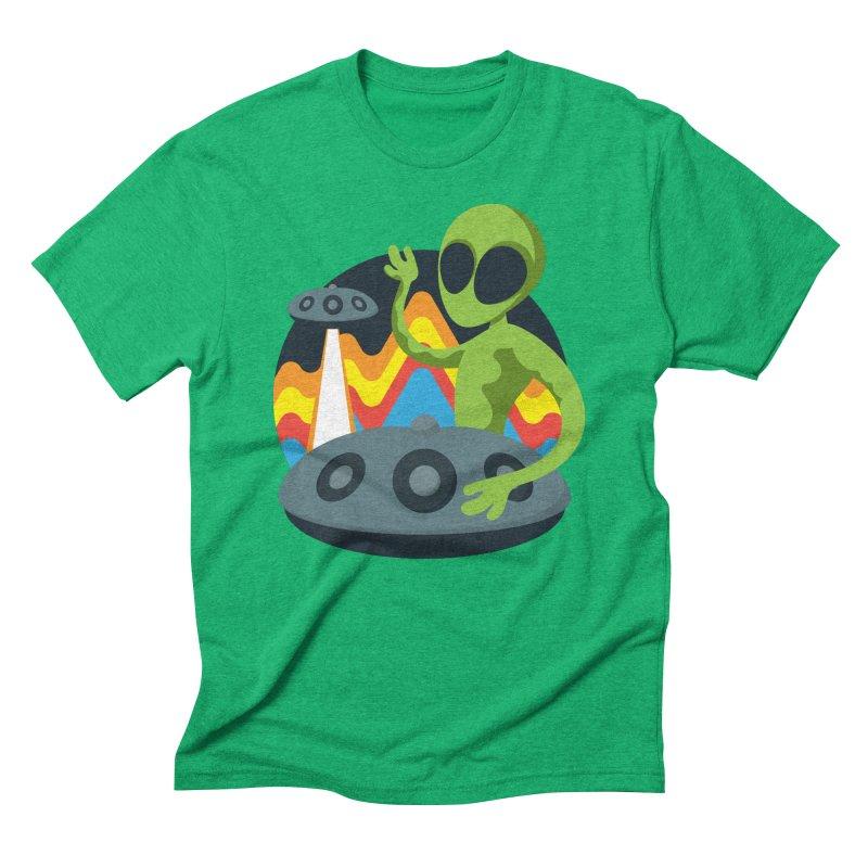 Green Alien Playing Handpan Men's Triblend T-Shirt by Handpan Merch (T-shirts, Hoodies, Accessories)
