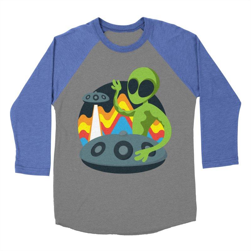 Green Alien Playing Handpan Men's Baseball Triblend Longsleeve T-Shirt by Handpan Merch (T-shirts, Hoodies, Accessories)